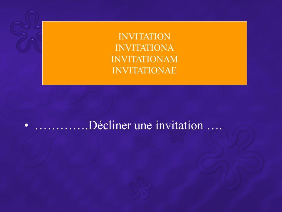 ………….Décliner une invitation ….