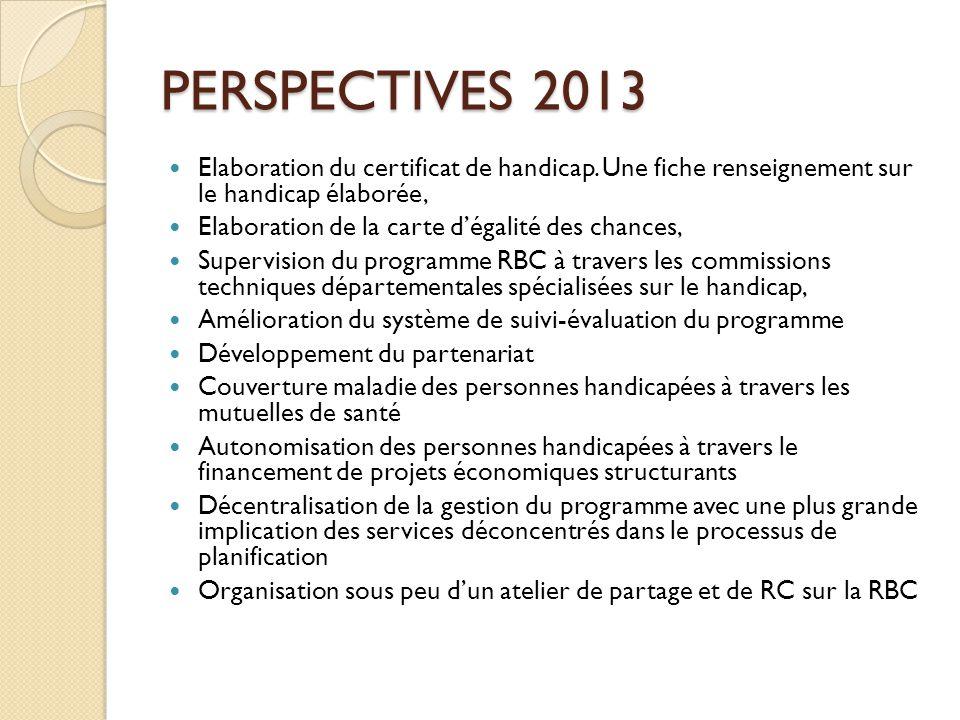 PERSPECTIVES 2013 Elaboration du certificat de handicap. Une fiche renseignement sur le handicap élaborée,