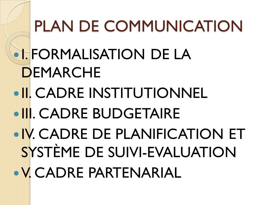 PLAN DE COMMUNICATION I. FORMALISATION DE LA DEMARCHE