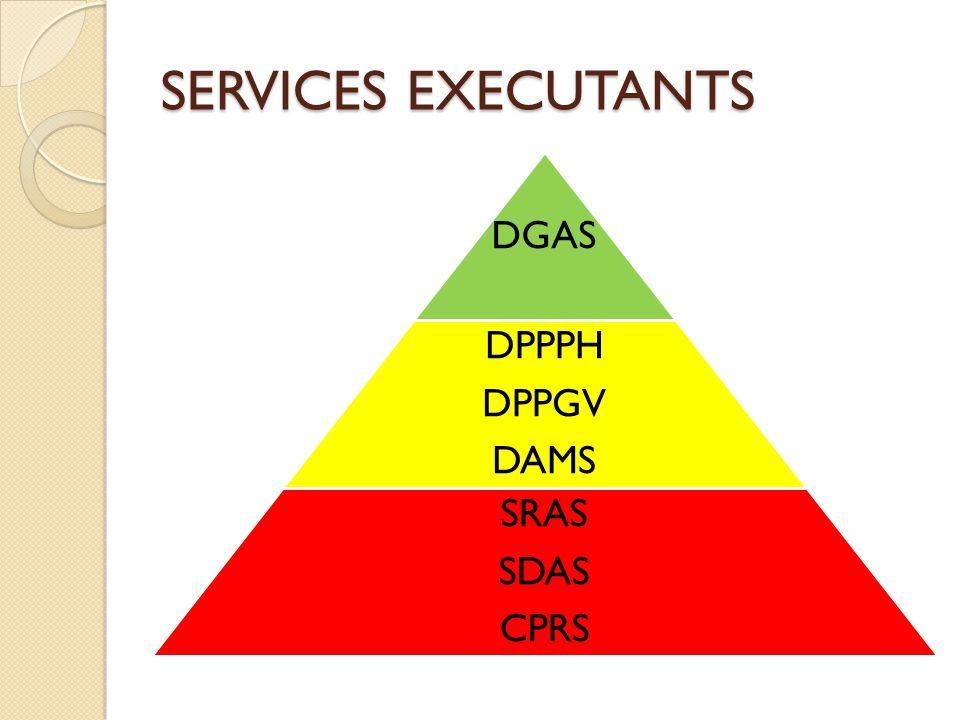 SERVICES EXECUTANTS DGAS DPPPH DPPGV DAMS SRAS SDAS CPRS