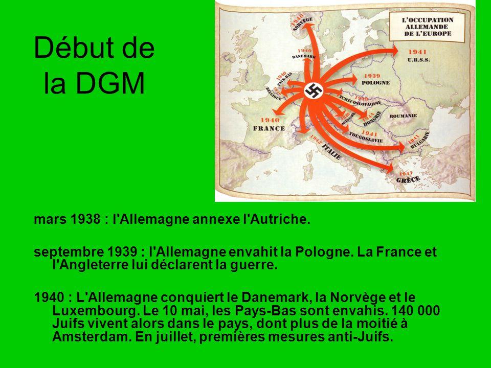 Début de la DGM mars 1938 : l Allemagne annexe l Autriche.