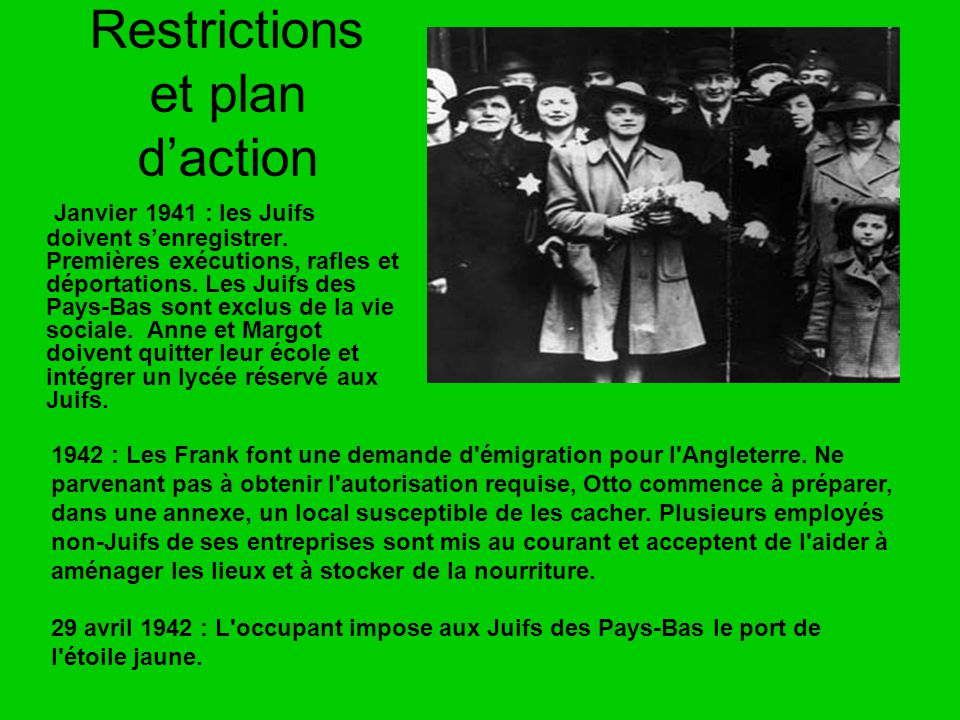 Restrictions et plan d'action