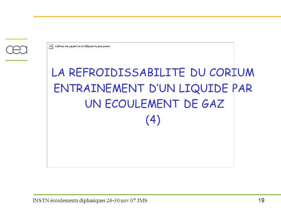 LA REFROIDISSABILITE DU CORIUM ENTRAINEMENT D'UN LIQUIDE PAR