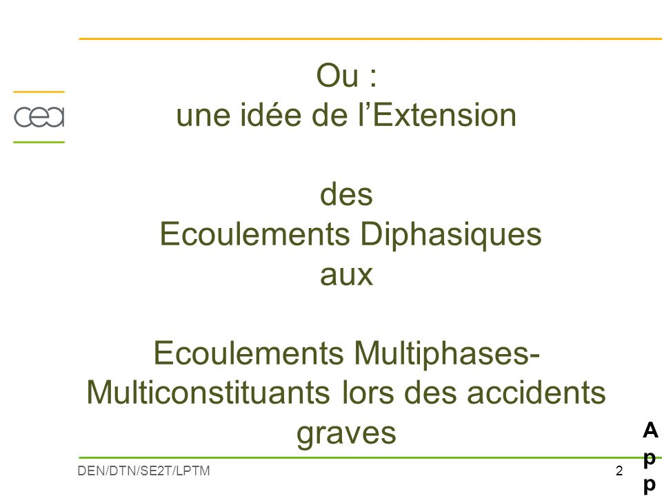 Applications : Etudes Accidents Graves Programme BIOCARB