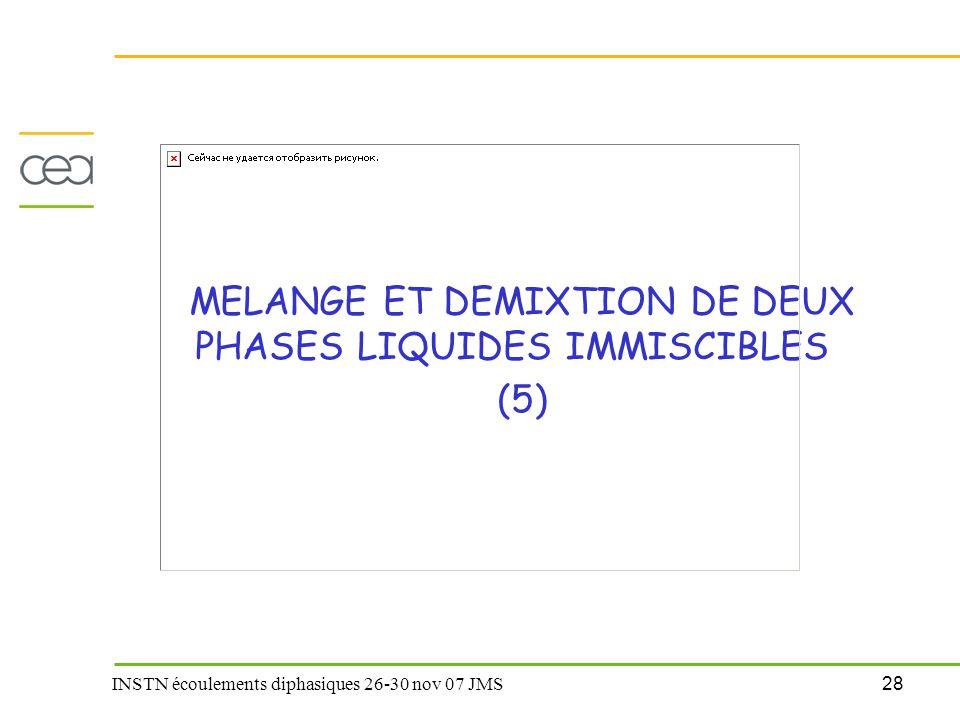 MELANGE ET DEMIXTION DE DEUX PHASES LIQUIDES IMMISCIBLES