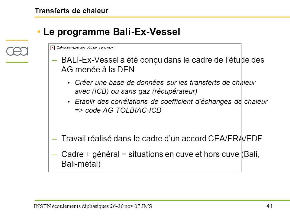 Le programme Bali-Ex-Vessel