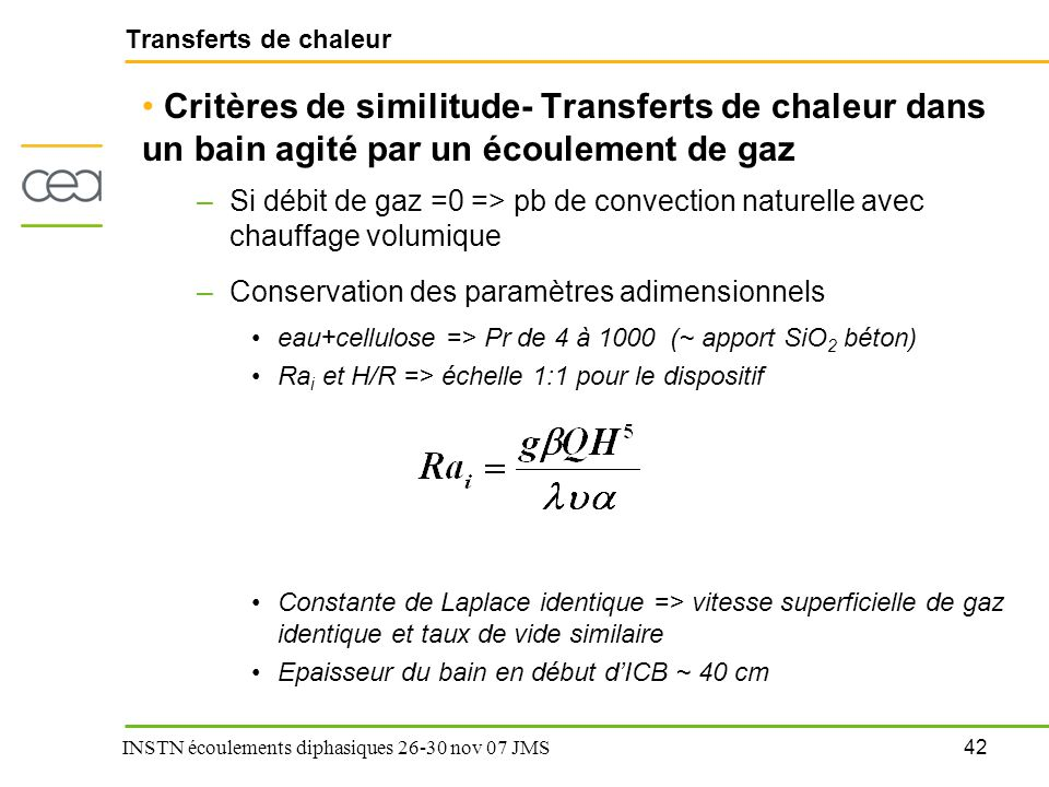 Transferts de chaleur Critères de similitude- Transferts de chaleur dans un bain agité par un écoulement de gaz.