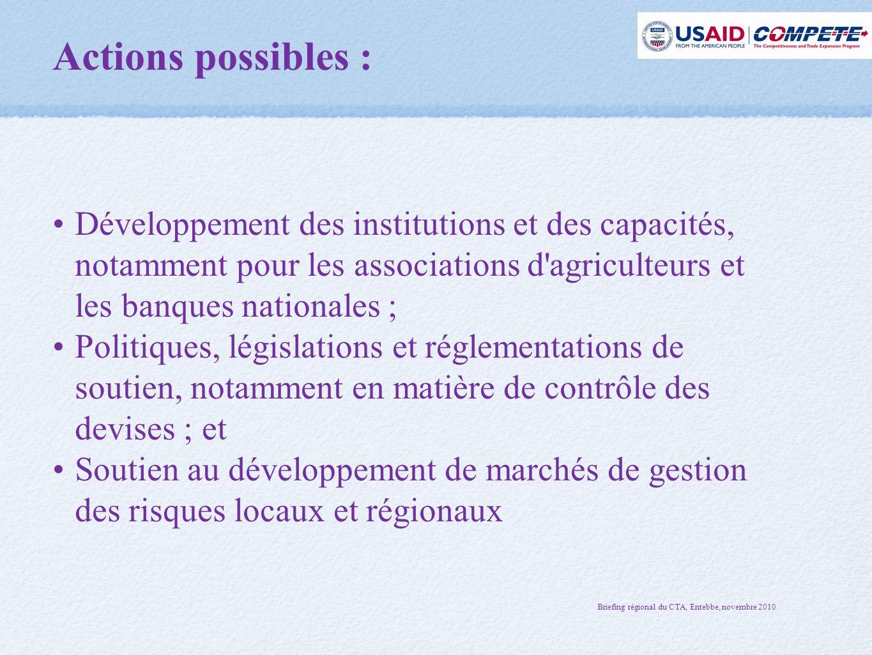 Actions possibles : Développement des institutions et des capacités, notamment pour les associations d agriculteurs et les banques nationales ;