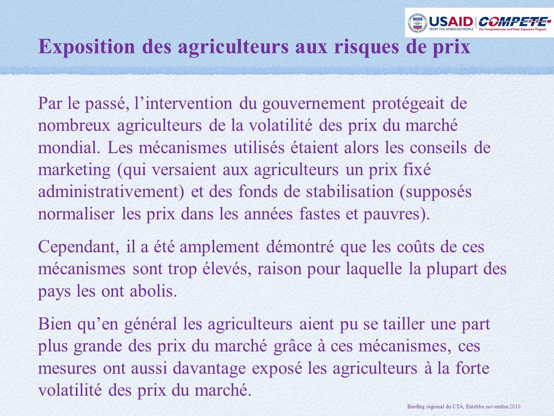 Exposition des agriculteurs aux risques de prix