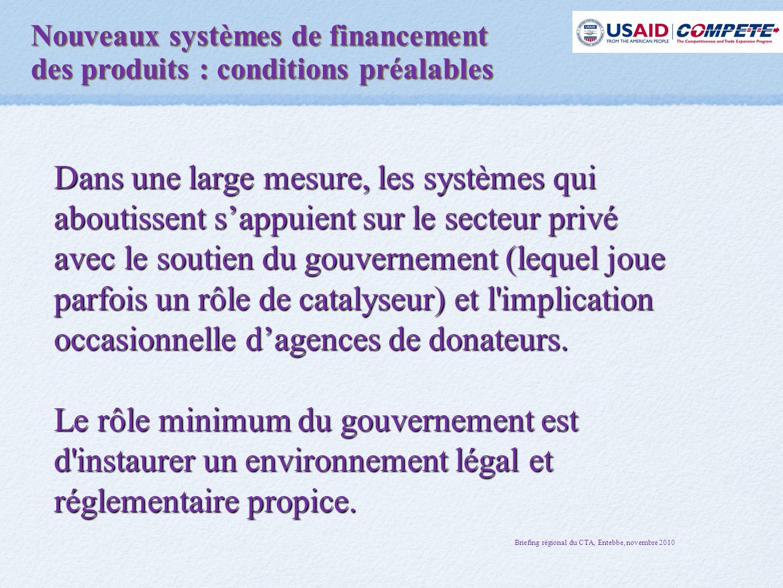 Nouveaux systèmes de financement des produits : conditions préalables