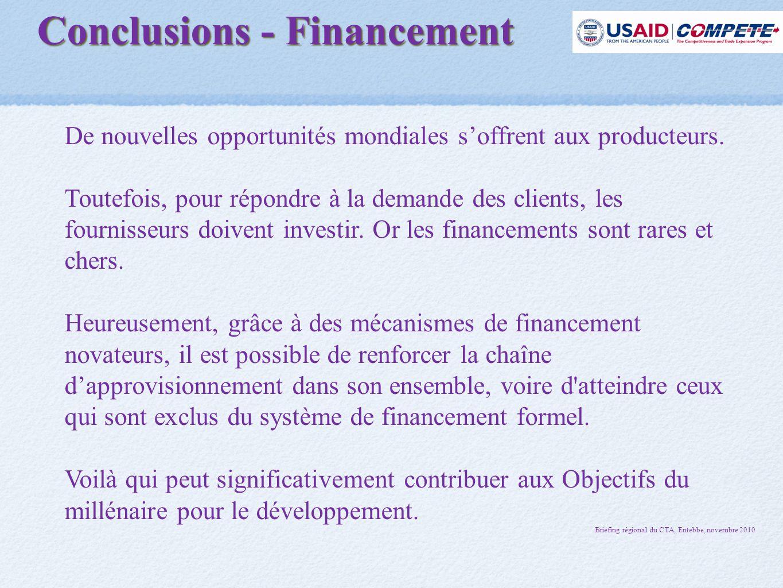 Conclusions - Financement