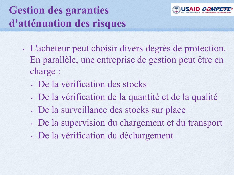 Gestion des garanties d atténuation des risques