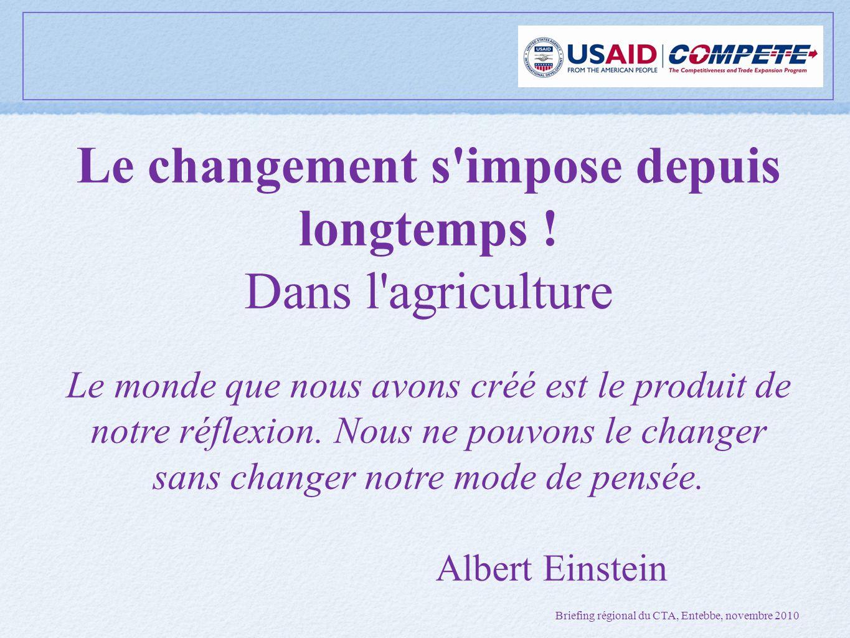 Le changement s impose depuis longtemps ! Dans l agriculture