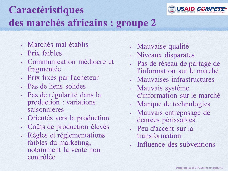Caractéristiques des marchés africains : groupe 2