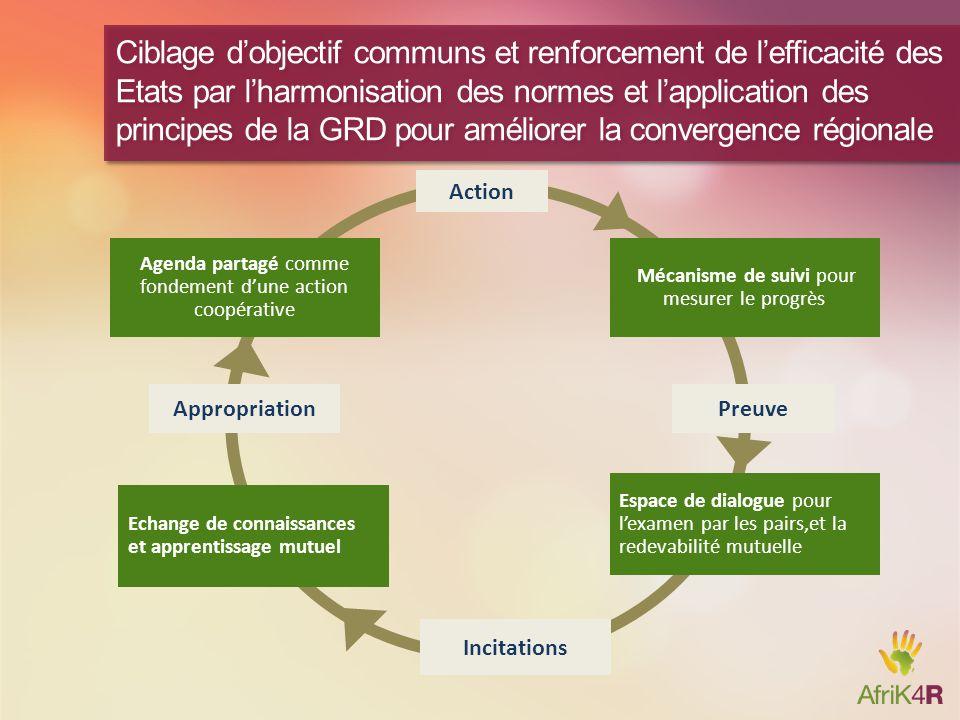 Ciblage d'objectif communs et renforcement de l'efficacité des Etats par l'harmonisation des normes et l'application des principes de la GRD pour améliorer la convergence régionale