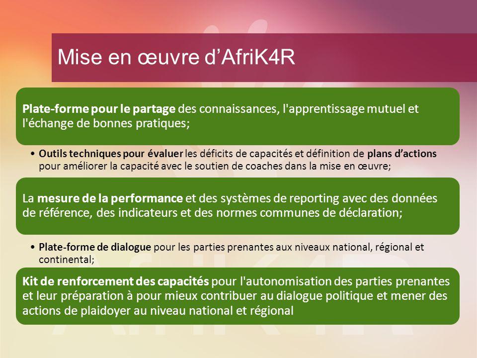 Mise en œuvre d'AfriK4R Plate-forme pour le partage des connaissances, l apprentissage mutuel et l échange de bonnes pratiques;