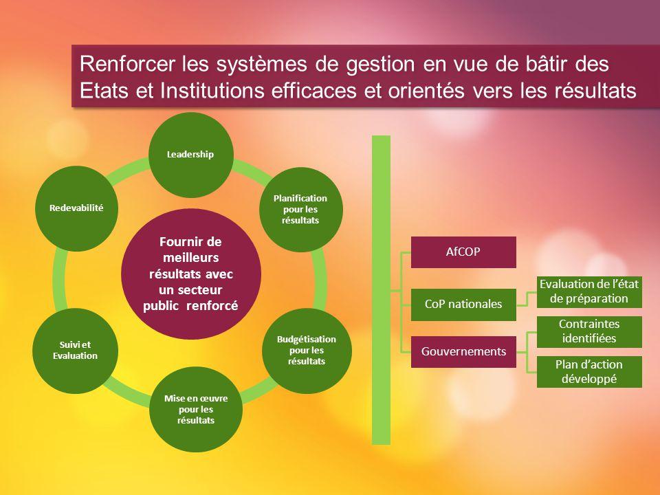 Renforcer les systèmes de gestion en vue de bâtir des Etats et Institutions efficaces et orientés vers les résultats