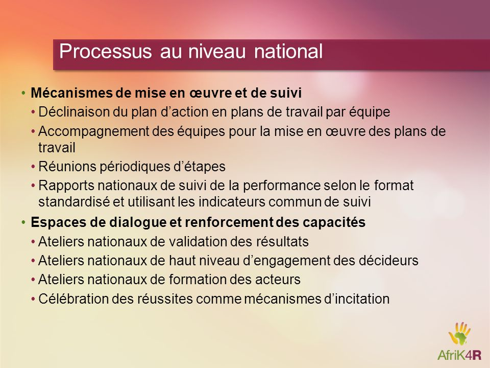 Processus au niveau national