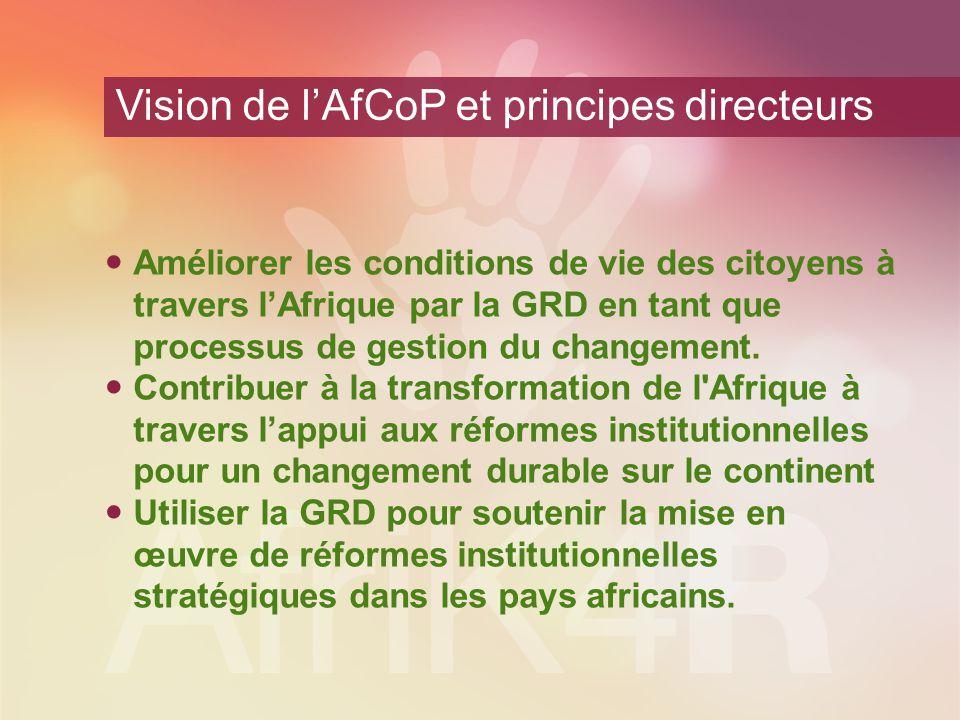 Vision de l'AfCoP et principes directeurs