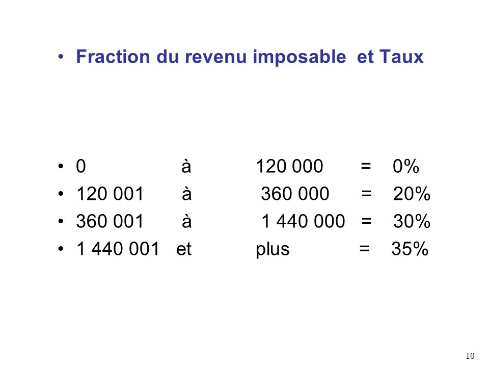 Fraction du revenu imposable et Taux