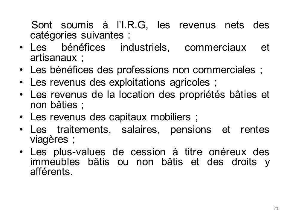 Sont soumis à l'I.R.G, les revenus nets des catégories suivantes :