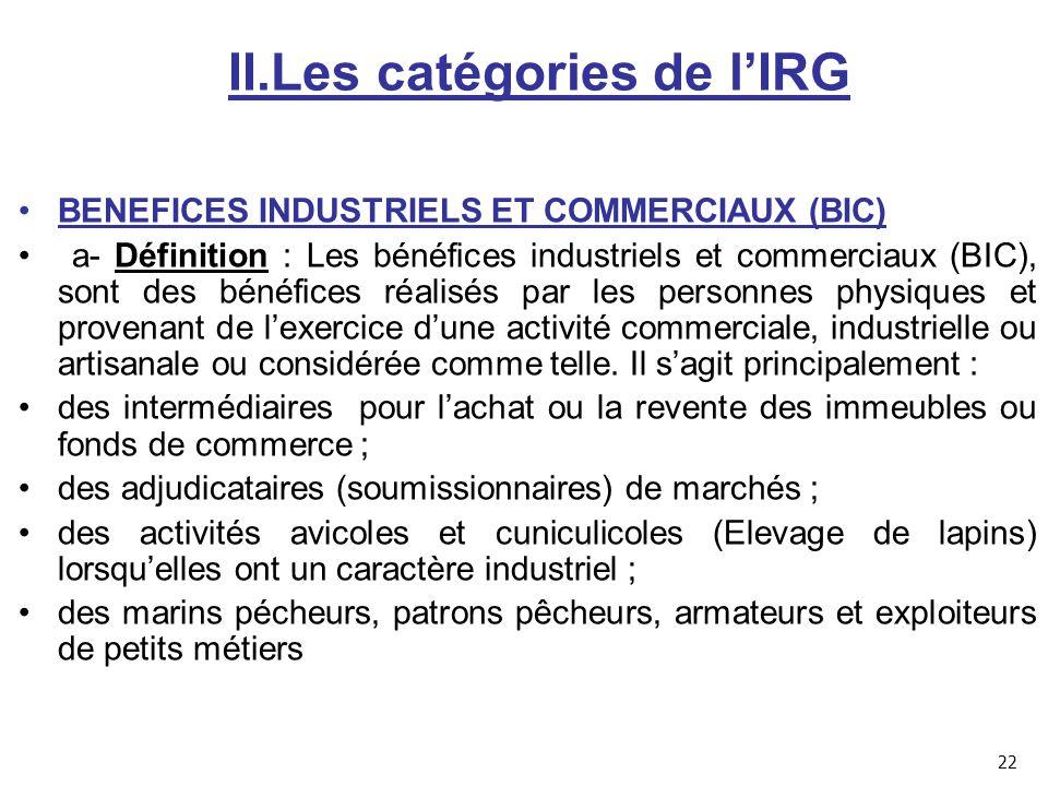II.Les catégories de l'IRG