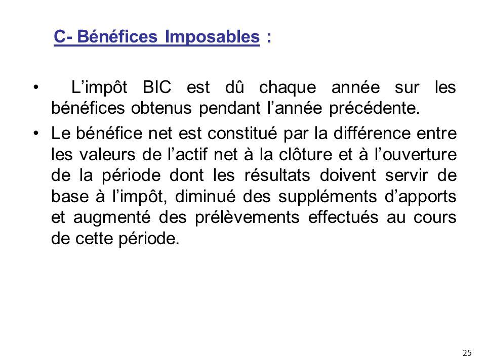 C- Bénéfices Imposables :