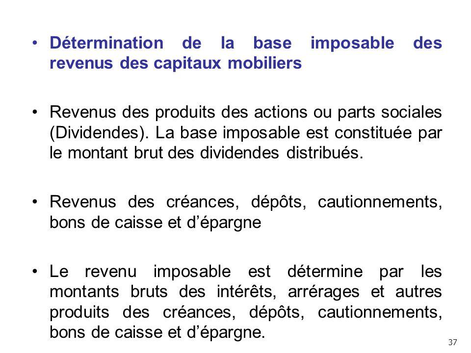 Détermination de la base imposable des revenus des capitaux mobiliers