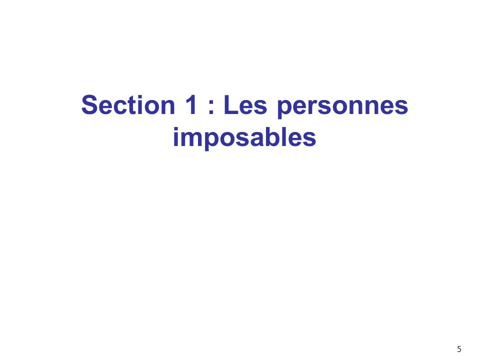 Section 1 : Les personnes imposables