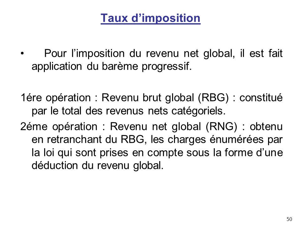 Taux d'imposition Pour l'imposition du revenu net global, il est fait application du barème progressif.