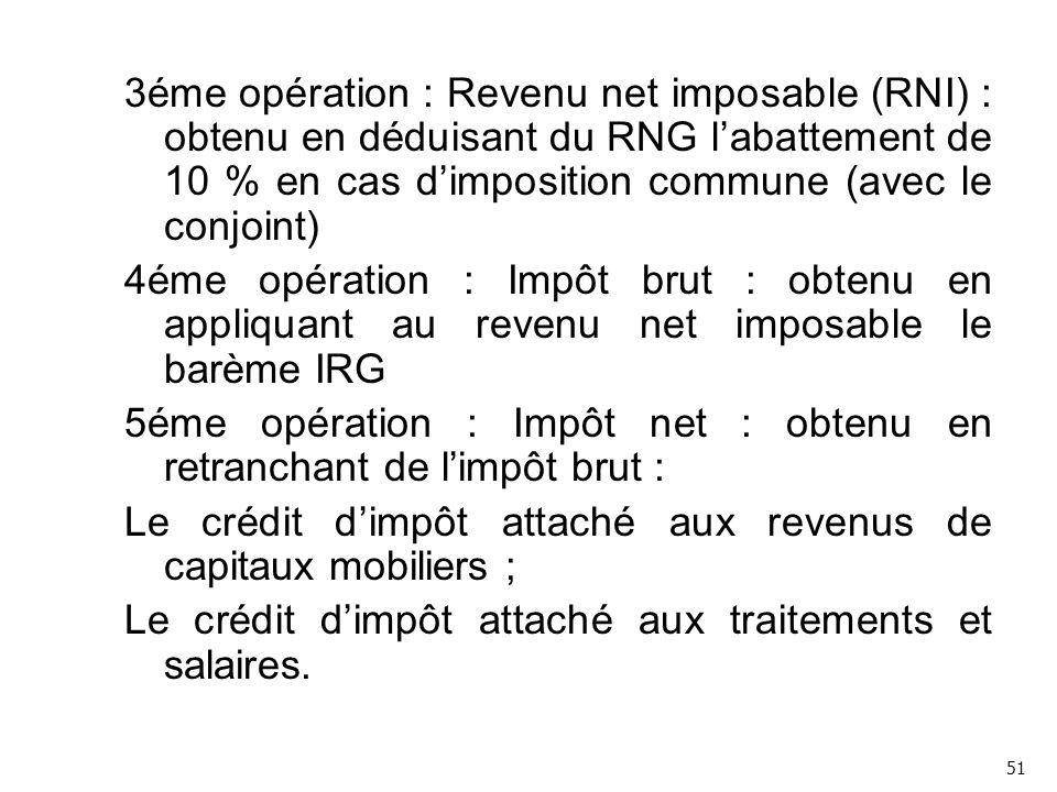 5éme opération : Impôt net : obtenu en retranchant de l'impôt brut :