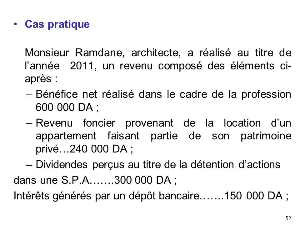 Bénéfice net réalisé dans le cadre de la profession 600 000 DA ;