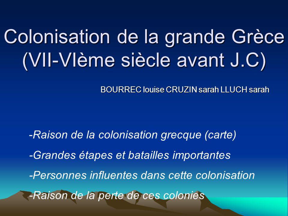 Colonisation de la grande Grèce (VII-VIème siècle avant J.C)
