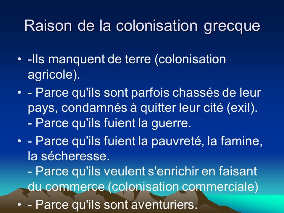 Raison de la colonisation grecque