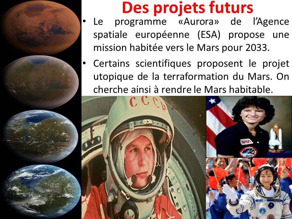 Des projets futurs Le programme «Aurora» de l'Agence spatiale européenne (ESA) propose une mission habitée vers le Mars pour 2033.