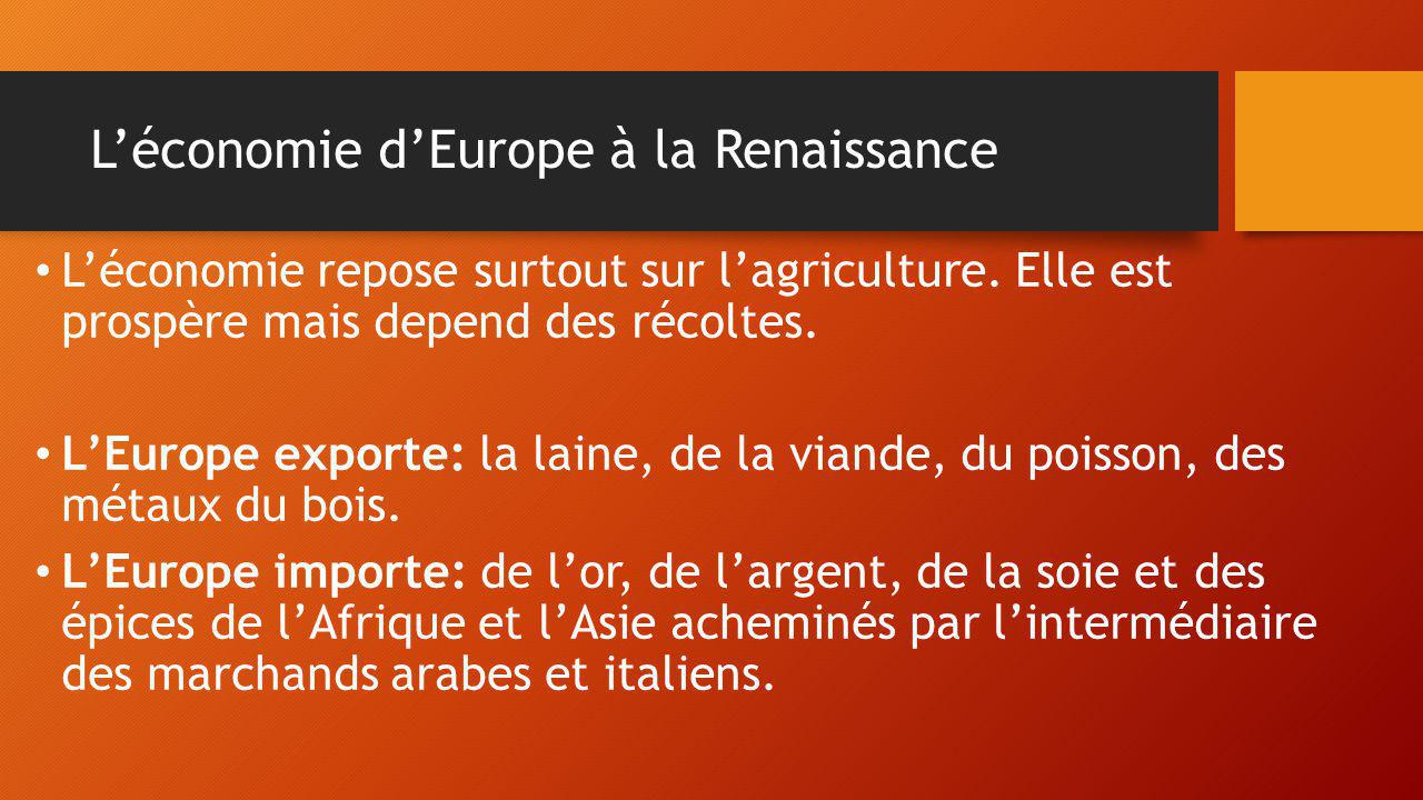 L'économie d'Europe à la Renaissance