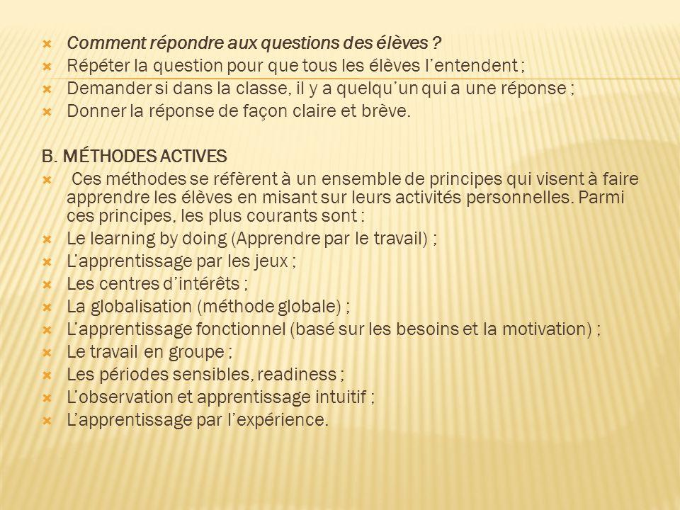 Comment répondre aux questions des élèves