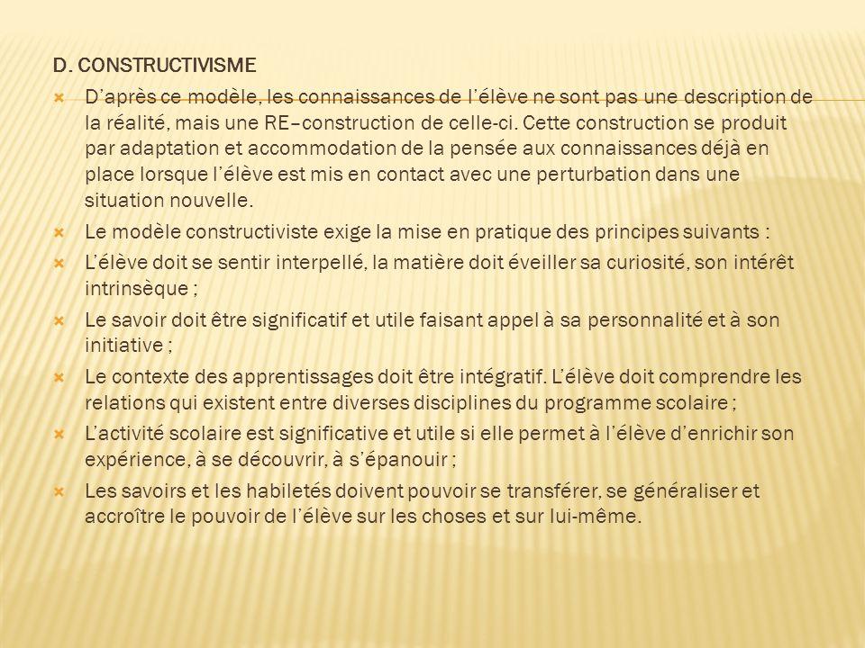 D. CONSTRUCTIVISME