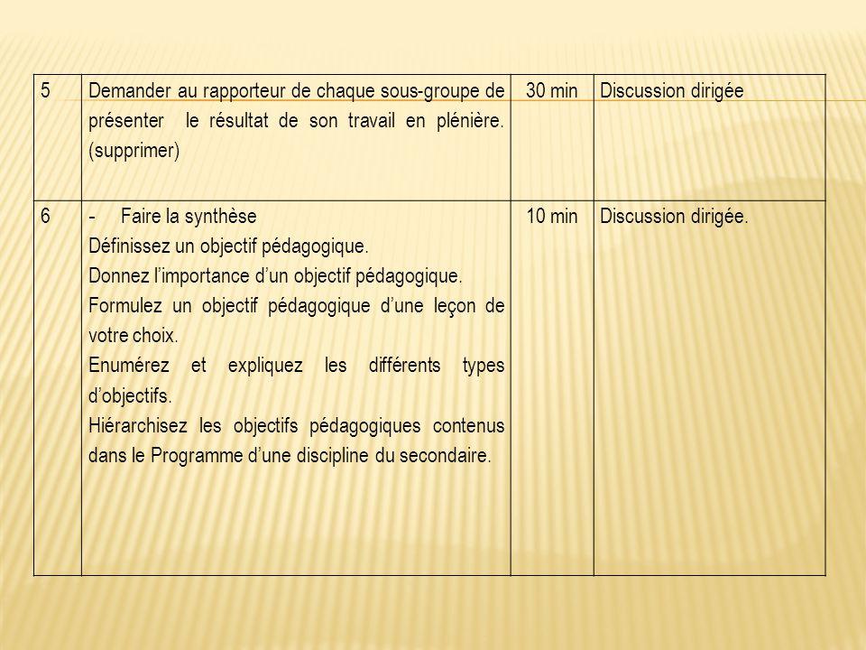 5 Demander au rapporteur de chaque sous-groupe de présenter le résultat de son travail en plénière. (supprimer)