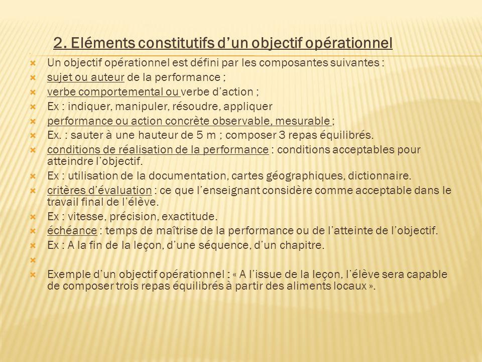 2. Eléments constitutifs d'un objectif opérationnel