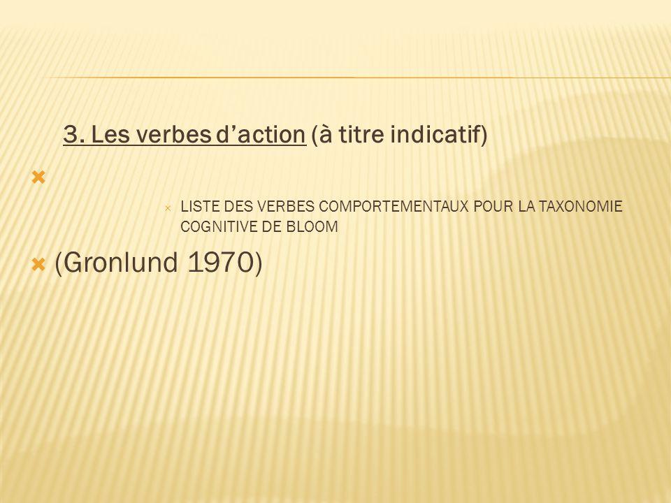 (Gronlund 1970) 3. Les verbes d'action (à titre indicatif)