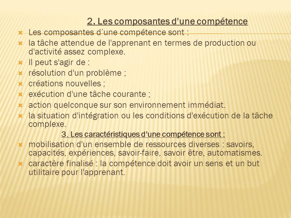 2. Les composantes d une compétence
