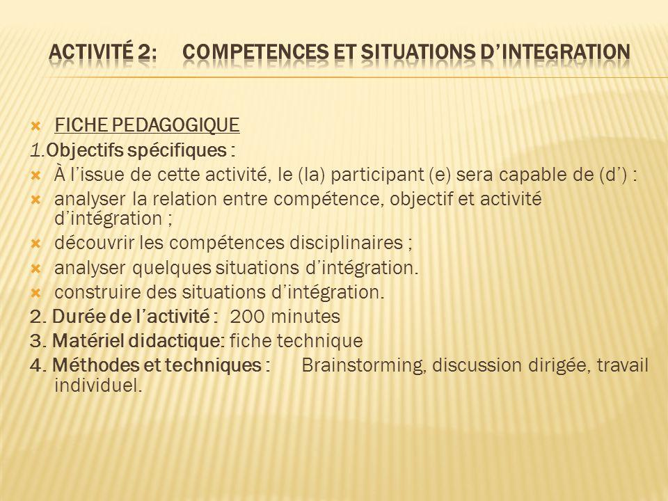 Activité 2: COMPETENCES ET SITUATIONS D'INTEGRATION