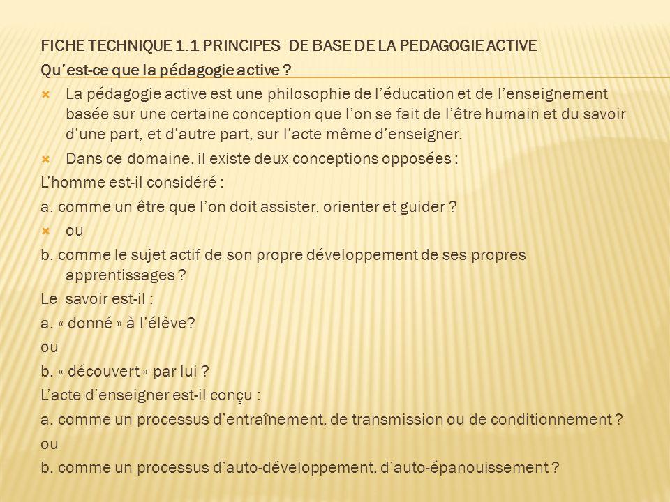 FICHE TECHNIQUE 1.1 PRINCIPES DE BASE DE LA PEDAGOGIE ACTIVE
