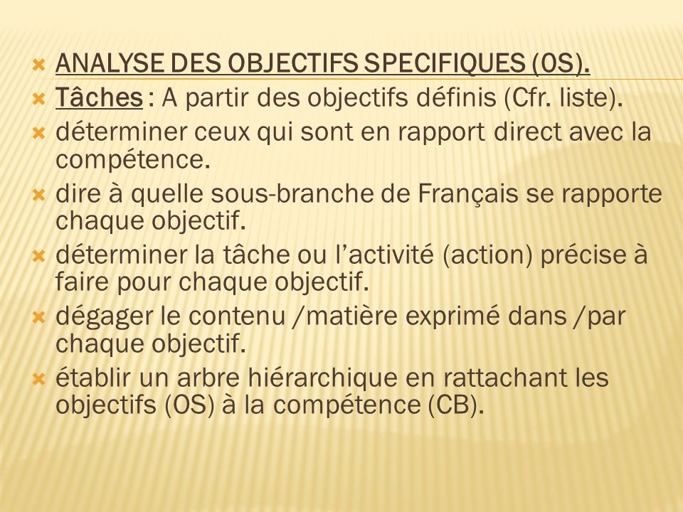 ANALYSE DES OBJECTIFS SPECIFIQUES (0S).