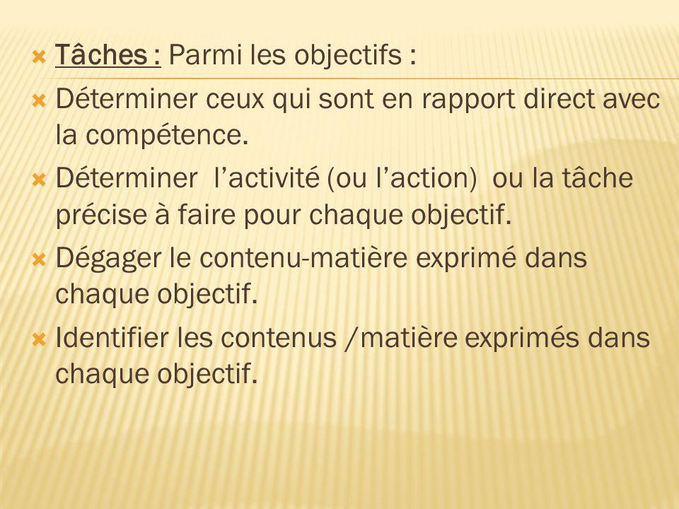 Tâches : Parmi les objectifs :