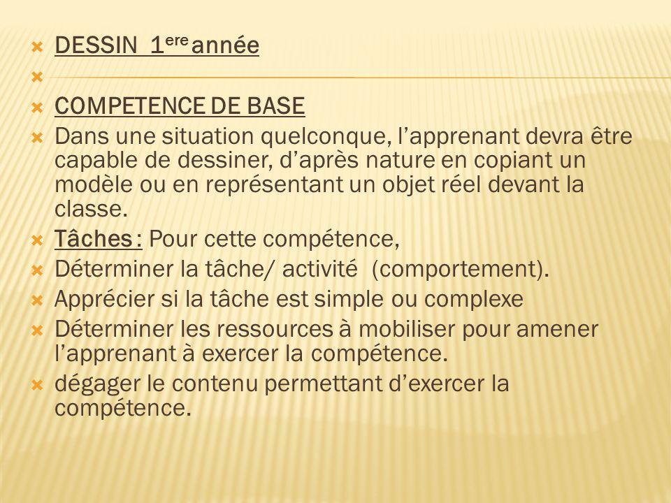 DESSIN 1ere année COMPETENCE DE BASE.