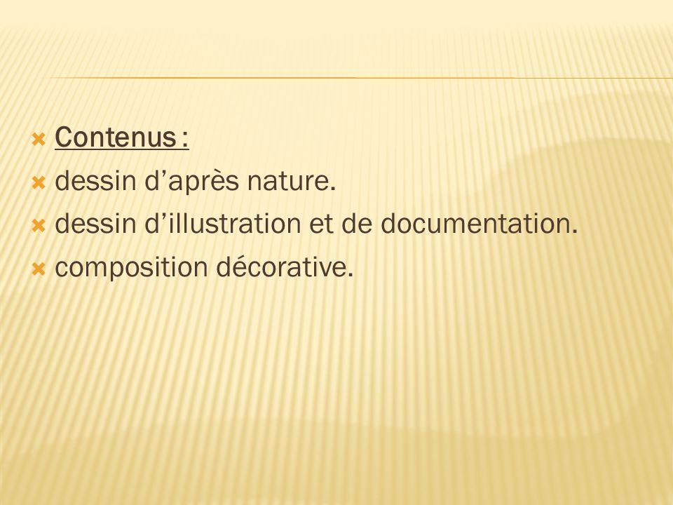 Contenus : dessin d'après nature. dessin d'illustration et de documentation.