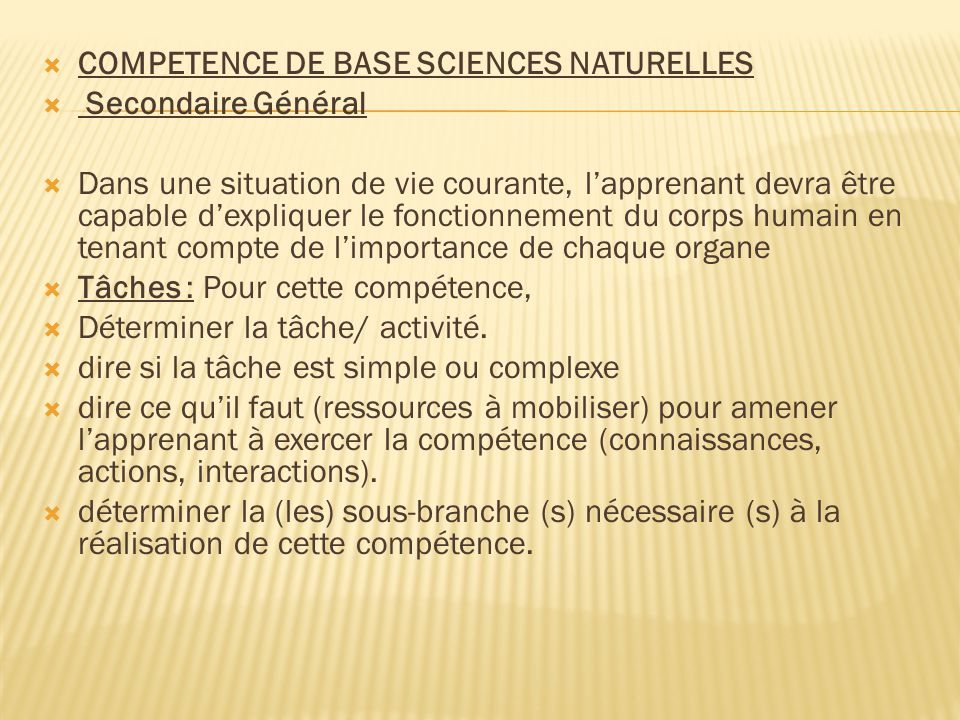 COMPETENCE DE BASE SCIENCES NATURELLES