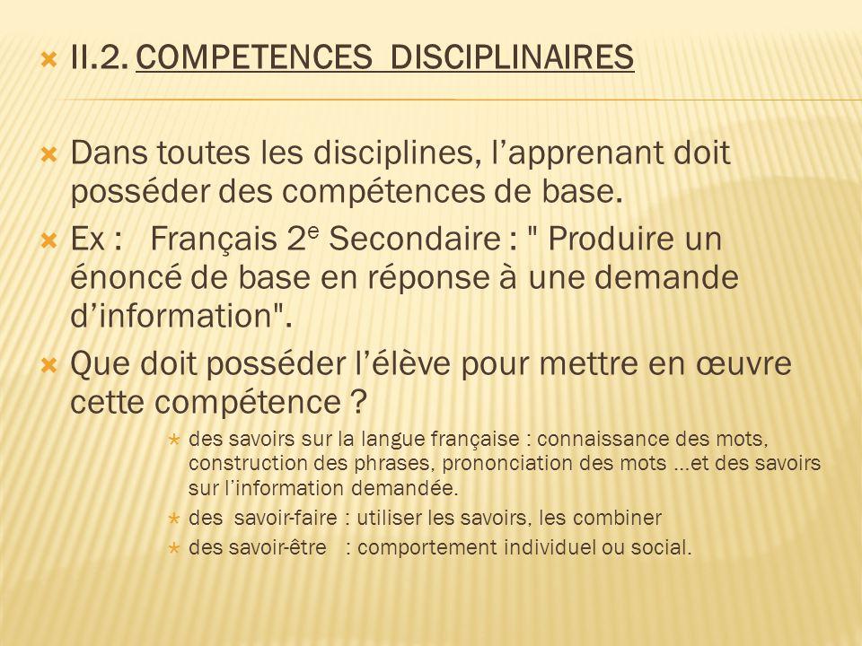 II.2. COMPETENCES DISCIPLINAIRES